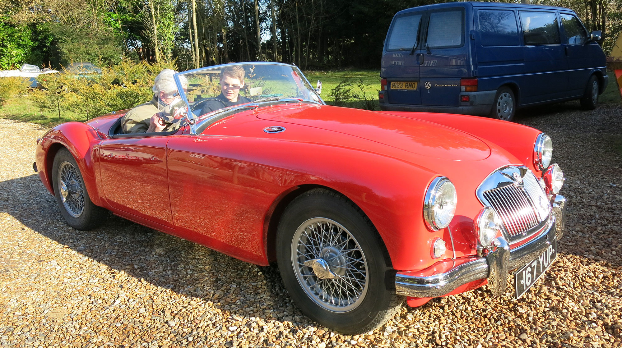 Chris in his MGA gaining Jack Rawles as an extra passenger