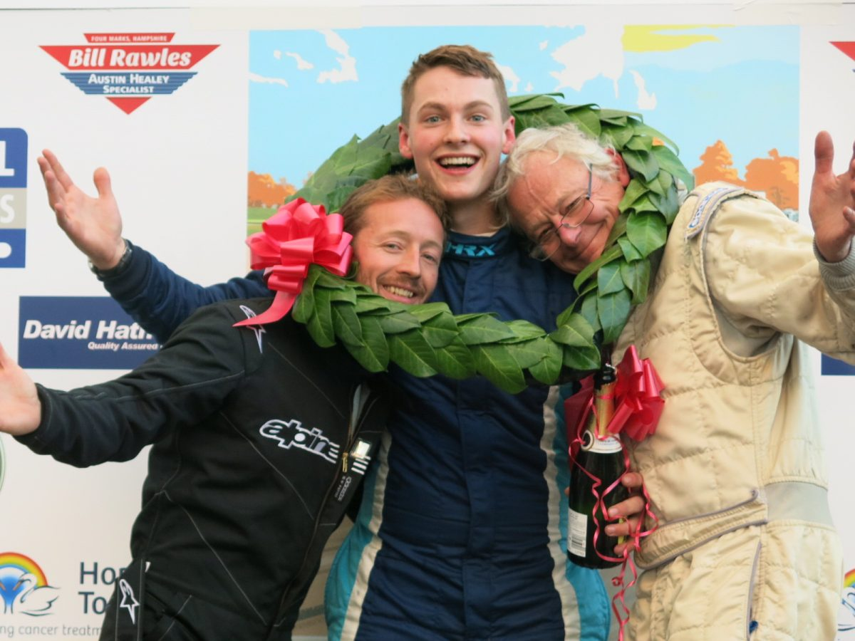 Jack Rawles was crowned Healey Driver International winner of the 2016 Castle Combe Autumn Classic, after two very exciting Healey racers on a very wet day